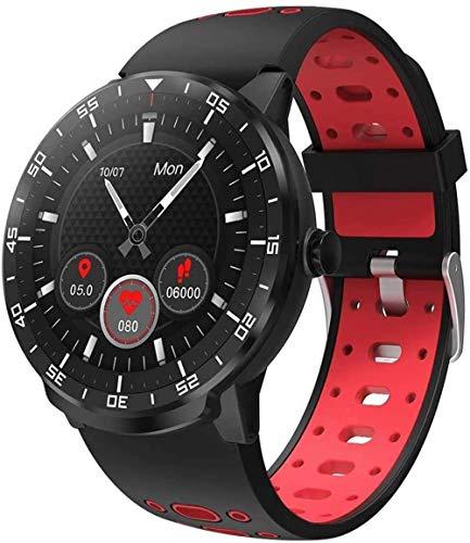 TYX-SS Reloj Inteligente con rastreador de Ejercicios GPS, Monitor de frecuencia cardíaca, rastreador de Actividad del sueño, recordatorio de Llamadas SMS, podómetro Impermeable para Android iOS-Rojo