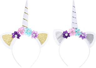 TOYMYTOY Unicorn HeadbandFloral Hair Band Unicorn Horn Headpiece with Ears for Girls Party Dress Decorations (Gold anad Silver)2pcs