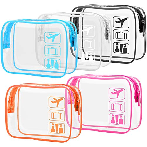 Clear Toiletry Bag, Packism 5 Pack TSA Approved Toiletry Bag Quart Size Bag, Travel Makeup Cosmetic Bag for Women Men, Carry on Airport Airline Compliant Bag, Black, White, Blue, Orange, Rose Red