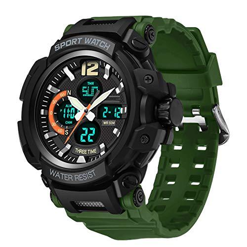 RHJK Doppelbewegung Männer Uhr, Militäruhren Für Männer Outdoor Sports Digital Watch Taktische Armee Armbanduhr wasserdichte Militäruhren Für Männer B