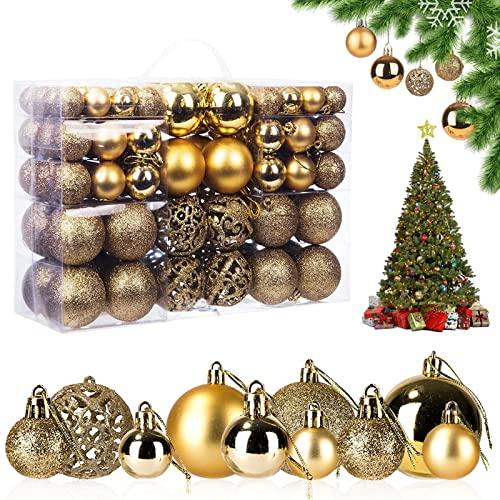 Bolas de Navidad, 100 Piezas Bolas de árbol de Navidad Bola de Decoración Navideña Bolas de Navidad Decoración Adornos de Bolas de Navidad, para Navidad Decorar y Fiestas (Oro)