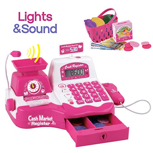 Liberty Imports Pretend Play Electronic Cash Register Toy - Microphone, Scanner, Weight Scale, Calculator, Play Food and Shopping Playset - Realistic Actions and Sounds (Pink)