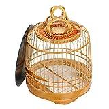 Cardenal Jade Bird Manbird Jaula de bambú Jaula de pájaros de bambú Antigua Hecha a Mano Jaula de pájaros Redonda Jaula para pájaros de Gran Capacidad con Base Desmontable