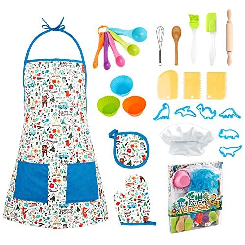 yingmu Juego De Cocina Y Horneado para Niños De 26 Piezas, Cute DIY Dress Up Chef Costume, Incluye Delantal Chef Hat Mitt Utensil, Kids Chef Set Cooking Set For Children's Day