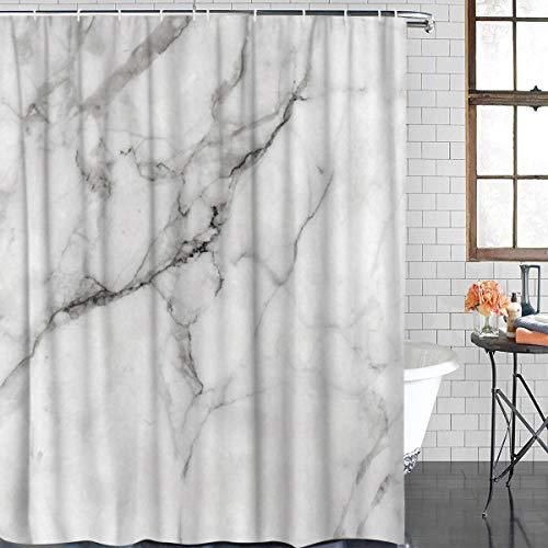 Anzona Duschvorhänge aus strapazierfähigem Polyester für Badezimmer Marmor Natur Granit Muster wasserdichte Badewannen-Vorhänge Set mit Haken 48'' W by 72'' L Marble1azn2340