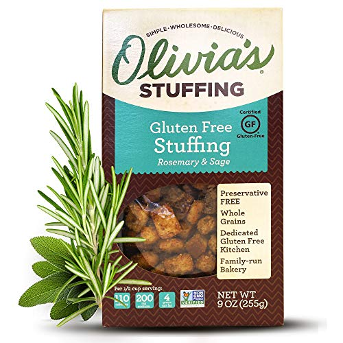 Olivia's Croutons - Rosemary & Sage Stuffing (2 Pack) - Natural Stuffing - Gluten-Free Stuffing Mix - Gluten Free Bread Cubes - Vegetarian Stuffing Mix - Herb Stuffing Mix 9 oz
