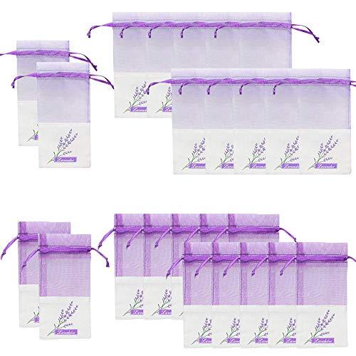 Geila Bolsos vacíos de la bolsita 24pcs Bolsos púrpuras de la Gasa-algodón de la Gasa para la Lavanda, la Especia y Las Hierbas (24 Bolsa con cordón)