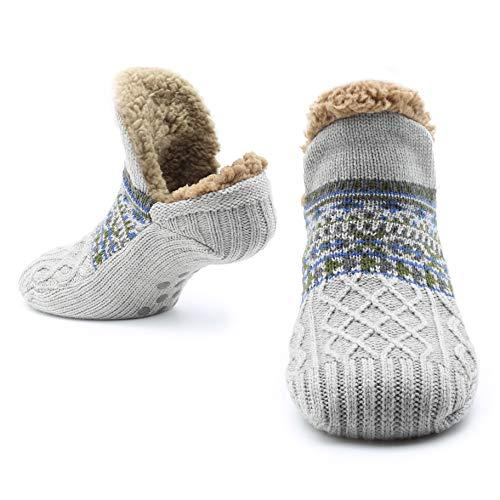 CityComfort Slipper Fluffy Socken für Frauen Männer Wärme Halten Socke Gestrickte Socken Wolle Sherpa Fuzzy Bett Hausschuhe Größe 5-8 Rutschfeste (Hellgrau)