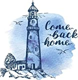 EW Designs Pretty Watercolor Lighthouse Come Back Home Calligraphy Vinyl Decal Bumper Sticker (4' Tall)