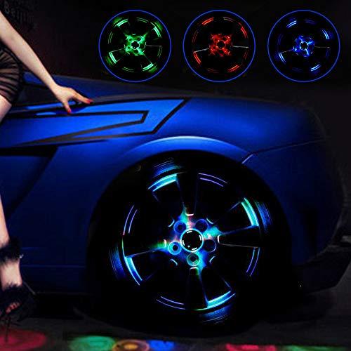 ZH-VBC Ambientebeleuchtung Auto, Solar Rad Reifen Nachtsicht Rad Licht, Bunte Led Reifen, RGB Blinkende Außenleuchten, Für Autoreifen Zubehör Dekoration, 4pcs