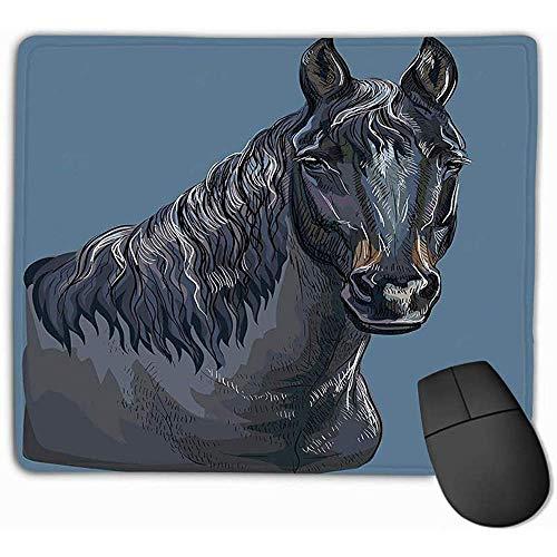Aangepaste rechthoek Mousepad, Leuke Gaming Mouse Pad Mat 30X25CM Kleurrijke Hand Tekenen Paard Portret Kleurrijke Hand Tekenen Portret Zwart Paard Hoofd Geïsoleerde Hand Tekenen Gelukkig