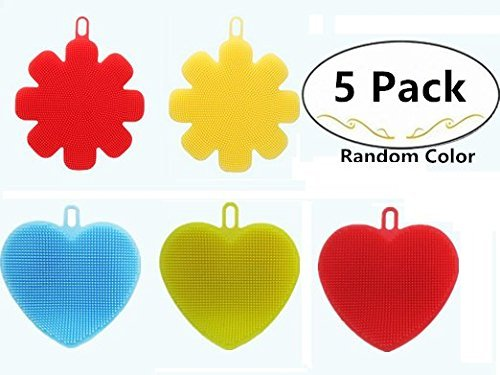 5 Pack Antibacterial Silicone Dish Scrubber, Carnationy Dishwashing Cleaning Brush, Fruit and Vegetable Washer Heat Insulation Pads For Kitchen Wash Pot Pan Dish (3 Heart Shaped+2 Flower Shaped)