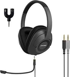 Koss SB42-ADP, Communication Headset with 3.5mm Headphone Splitter Adapter (2 TRS Female to 1 TRRS Male)