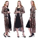 Women's Sequin Ankle Length Sparkle Cardigan Open Front Coat Dresses (3XL, Black)