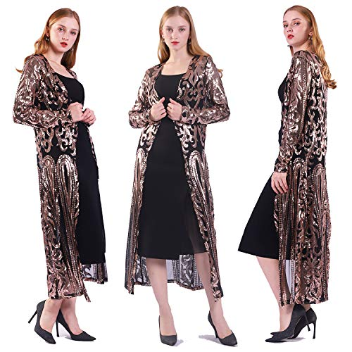Women's Sequin Ankle Length Sparkle Cardigan Open Front Coat Dresses (2XL, Black)