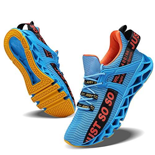 JSLEAP Herren Sneaker Atmungsaktiv Leichtgewicht Sportschuhe Laufschuhe Wanderschuhe Outdoor Schuhe (2-Blau/Orange,42 EU)