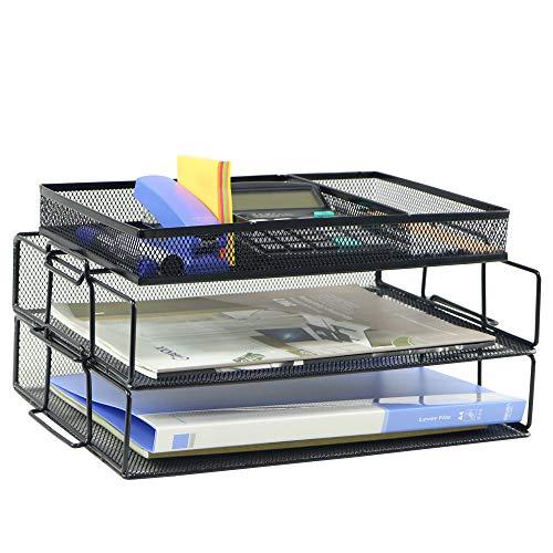 Grandix - Vassoio portalettere impilabile a 2 ripiani, collezione a rete, colore: nero