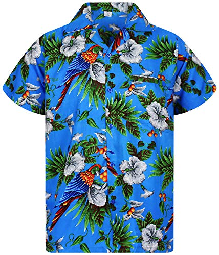 V.H.O. Funky Chemise Hawaienne, Cherry Parrot, Blue, 4XL