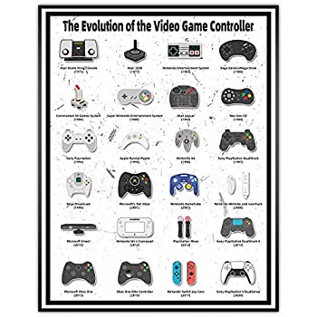 Video Game Controller Poster Wall Art and Retro Gamer Posters Decor for Teen Boys Room Double sided printing 11x14 Inch Unfarmed