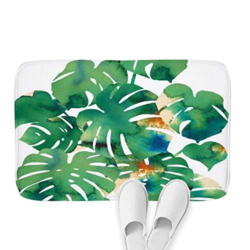 OPLJ Planta de la Selva Verde Alfombra de Cocina Alfombra de Entrada Hojas Dormitorio Pasillo Rectángulo Alfombra Decorativa para Suelo Alfombras de baño A8 40x60cm