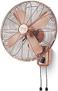 FANQIE Ventilador eléctrico, Ventilador de Pared de Metal Pasado de Moda, Mando a Distancia y el Tiempo Ventilador eléctrico del hogar Antiguo con sacudir la Cabeza,A