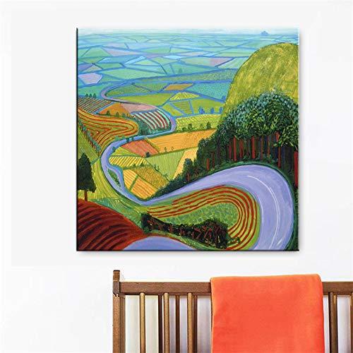 unbrand wereldberoemde schilderij beroemde schilder David Hockney karakter zwemmen spuiten kunstenaar decoratie poster wand canvas woonkamer 40X40CM Y