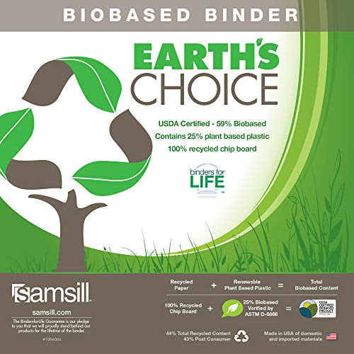 Samsill Earth's Choice Biobased 3 Ring View Binders, 1 Inch Round Ring, Up to 25% Plant Based Plastic, USDA Certified Biobased, Eco-Friendly, Customizable Clear View Cover, 4 Pack, Assorted (MP47339) Photo #11