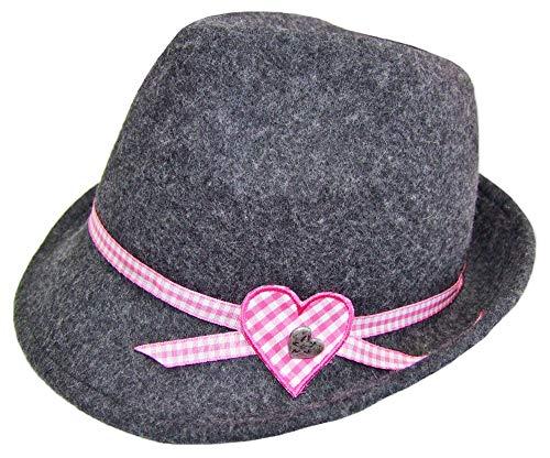 Kinder Trachtenhut Herz für Mädchen Anthrazit Gr. 53 - Schöner Filzhut aus Wolle für Junge Madls zum Dirndl aufs Oktoberfest