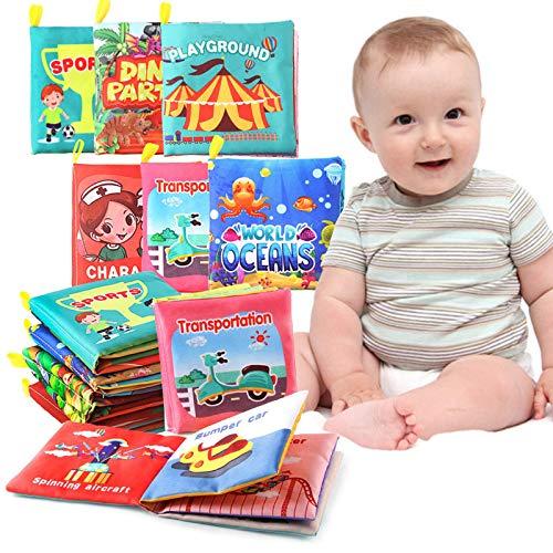 HebyTinco 6 PCS Libros Blandos para Bebé, Cloth Book, Libro de Cognición Paño Adecuados Durante 3 Meses a 3 Años de Edad los Niños Bebé, Libro de Educación Temprana y Desarrollo Intelectual