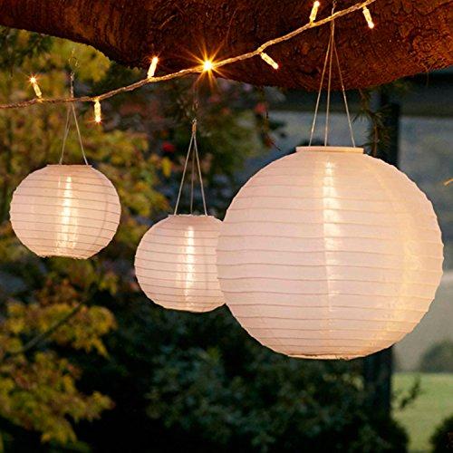 Lights4fun 3er Set Solar Lampions Solar Laterne weiß