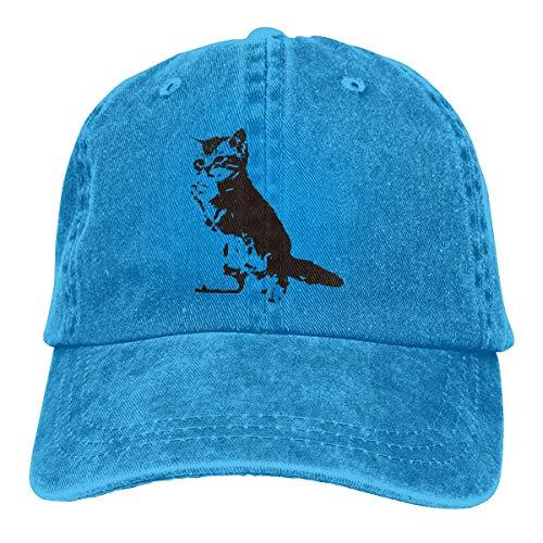 Yuanmeiju Gorra de Mezclilla Animal Cat Print Unisex Chapeau Leisure Hat Comfortable Chapeau Classic Headdress