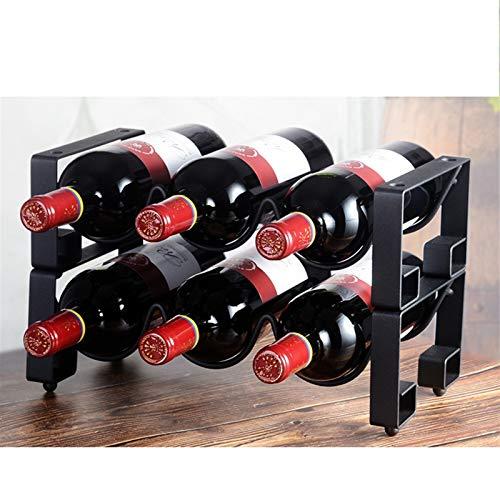 WaWeiY Estante de Vino de Metal con 6 Botellas de Almacenamiento de Vino de encimera encimera, Almacenamiento, Estilo requisitos de Montaje mínimos.33.5cmx17.3cmx22cm