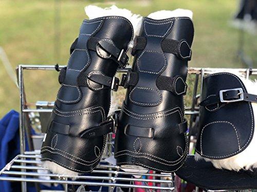 Equipride REAL SHEEPSKIN Leren Tendon & Fetlock Laarzen met Afneembare Schapenvacht, Large, Zwart