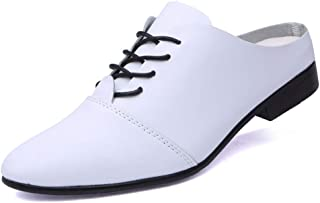 Sygjal Men's Business Oxford Casual Personality Super Light Comfortable Half Tow Formal Shoes (Color : White, Size : 42 EU)