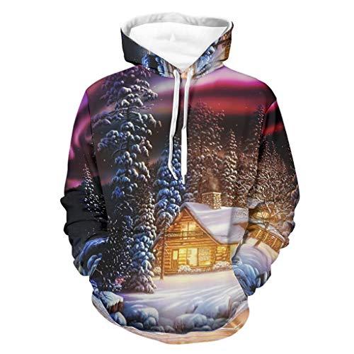 Cabin Lake Light Aurora Borealis - Sudadera con capucha para hombre con estampado de árboles de nieve, manga larga y bolsillos blanco XXXXL