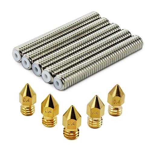 Aussel M6x40 barril de acero inoxidable boquilla garganta 0,4 mm latón extrusor boquilla para Makerbot MK8 3D impresora