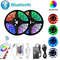BluetoothLEDストリップライトRGBSMD5050フレキシブルリボン防水RGBLEDライト5m10m15mテープダイオード12VBluetoothコントロール15M