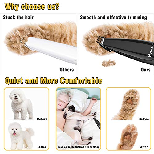 Peroom Dog Clippers, Professional 2-Speed Dog Grooming Clippers Kit, USB...