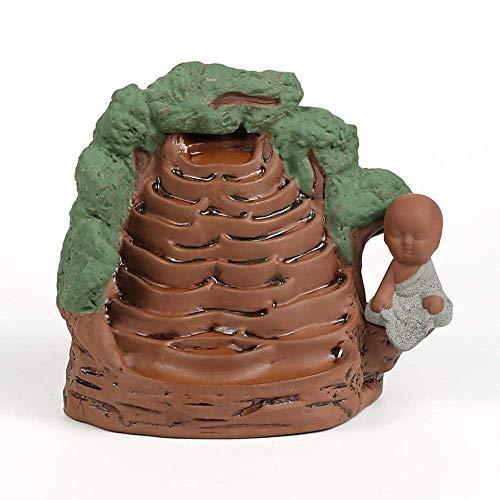 Estufa de aromaterapia individual Quemador de incienso de cerámica de reflujo Pequeño cofre creativo con torre de bambú Incienso Quemador de incienso de sándalo incienso Adornos de decoración de ofici