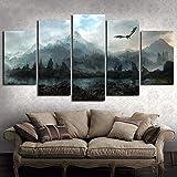 Segeltuch Wandkunst Bilder Wohnkultur 5 Stücke Game of Thrones Drache Skyrim Gemälde Zum Wohnzimmer Modular Druckt Poster,A,30 * 50 * 2+30 * 70 * 2+30 * 80 * 1