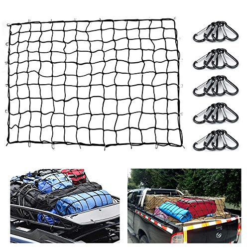 Heavy Duty Bungee Cargo Net 5#039x7#039 Truck Bed Nets Stretches to 10#039x14#039 SUV Cargo Net for Rooftop Cargo Carrier with 20 pcs D Clip Carabiners for Pickup Truck SUV Trailer Boat RV