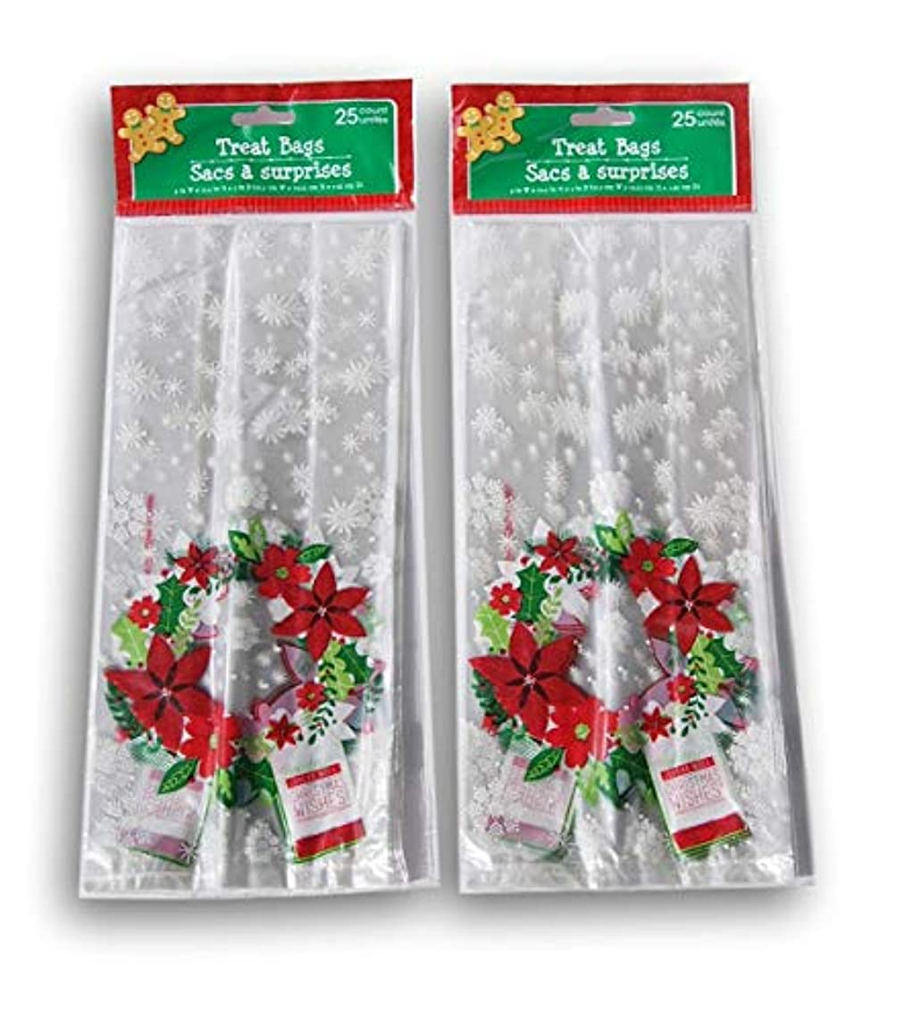 Christmas Poinsetta Themed Loot Treat Bags - 50 Pack