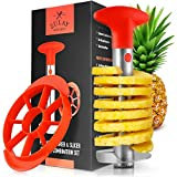 Zulay Pineapple Corer and Slicer Tool Set - Heavy Duty Stainless Steel Pineapple Cutter - Included Pineapple Slicer For Ready To Eat Wedges Saves Time and Effort (Red)