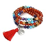 CrystalTears 108 Perlen Edelstein Yoga Om Mani Padme Hum Buddha Armband Chakra Wickelarmband Tibetische...