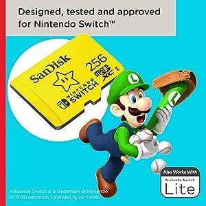 SanDisk Carte microSDXC UHS-I pour Nintendo Switch 256 Go - Produit sous licence Nintendo
