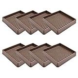 VOCOMO 3X3 Caster Cups, Square Rubber Furniture Cups with Anti-Sliding Floor Grip, Non Skid Furniture Caster Cups Furniture Floor Protectors (Brown, 8 Pack)