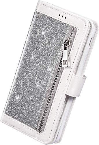 Herbests Kompatibel mit Samsung Galaxy A71 Handyhülle Handytasche mit 9 Kartenfächer Handschlaufe Leder Hülle Reißverschluss Magnet Luxus Bling Glänzend Multifunktions Flip Case,Silber