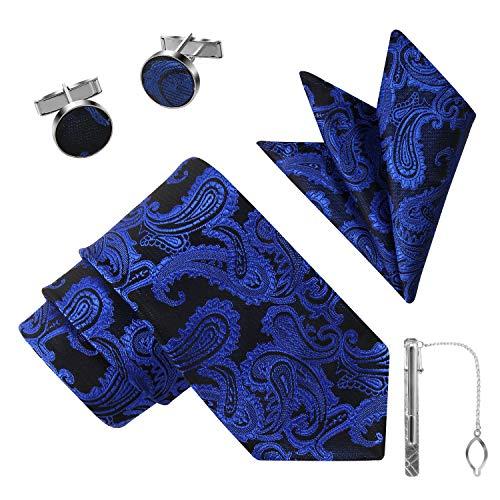 Jorlyen Uomo Designer Cravatta - Box Set con fazzoletto, Gemelli e Fermacravatta X Cucita a Mano in Microfibra in Molori Assortiti -CONFEIONE REGALO- REGALO DEL PADRE GIORNO