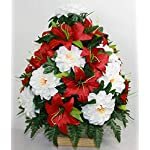 XL-Christmas-Red-and-White-Artificial-Silk-Flower-Cemetery-Bouquet-Vase-Arrangement