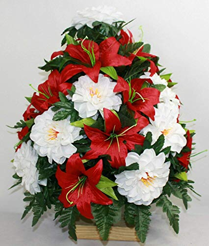 XL Christmas Red and White Artificial Silk Flower Cemetery Bouquet Vase Arrangement